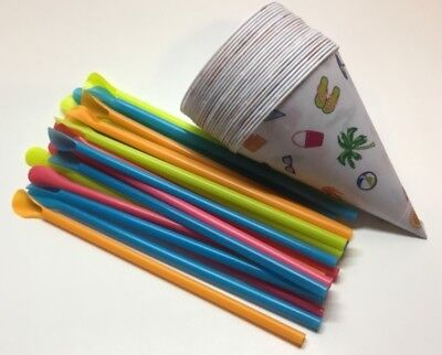 Back To Basics 25 Snow Cone Cups Straws 6oz Cone Cups Easy Scoop Straws New