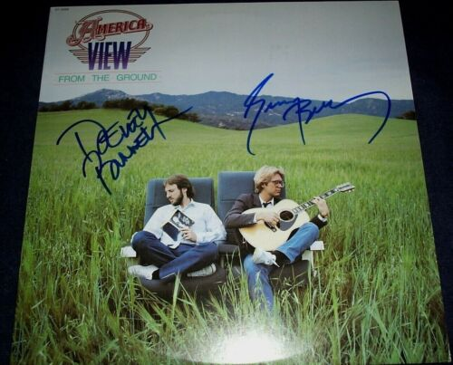 "AMERICA BAND SIGNED RECORD ""VIEW FROM THE GROUND"" 2 MEMBERS RARE! PROOF! WOW!"