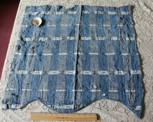 "Antique c1760-80 French Quilted Indigo Linen Ikat Partial Valance~26""X26"""