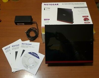 Modem Router ADSL Netgear D6300-100PES, ADSL e ADSL2+, WIFI AC1600, porta USB, used for sale  Shipping to Nigeria