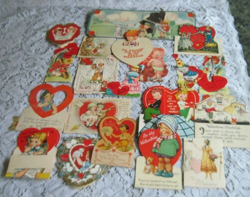 Cute Vintage Lot of 27 Kids Valentines~40s-50s~Great Condition~4 Teacher Cards