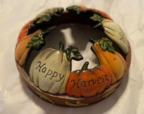 "Yankee Candle ~ Illuma-Lid ~ ""Happy Harvest"" Pumpkins ~ Enamel Jar Topper ~ EUC"
