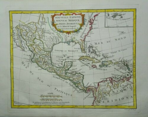 Antique Map of North and Central America by Robert de Vaugondy 1762