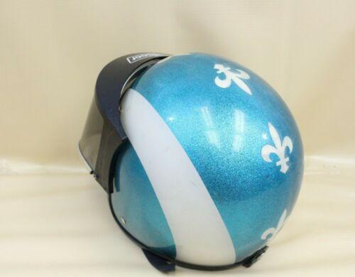 Vintage Blue & White Sparkle Fleur De Lis Quebec Flag Snowmobile Helmet