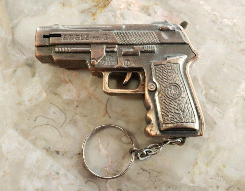 "Vintage Bronze Metal Gun Pistol Lighter Keychsin Victory Eagle 9MM 2.5"""