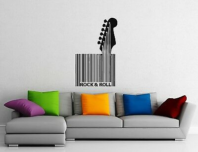 Wall Stickers Vinyl Decal Guitar Rock n Roll Music Barcode Room Decor (ig1066) (Rock N Roll Room Decor)