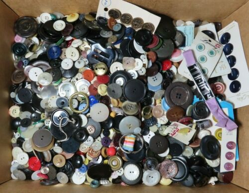 NOT PICKED THRU estate (4 LBs) of VINTAGE loose SEWING BUTTONS plus items -  #2