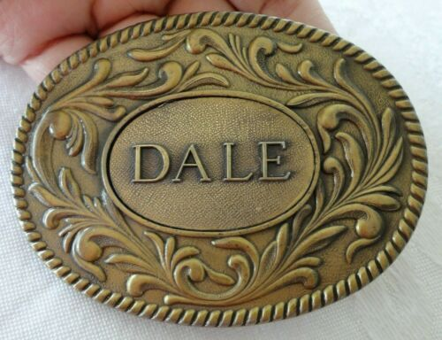 Vintage DALE Name Brass Belt Buckle 1977 THE KINNEY CO Made in USA