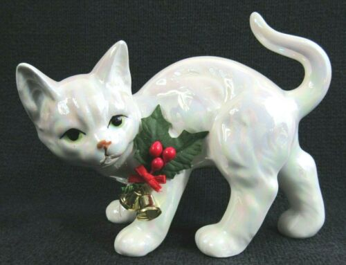 Vintage Enesco  White Luster China Christmas Cat With Holly Figurine 1988