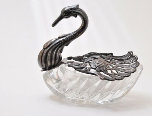 """LARGE STERLING SILVER AND CUT GLASS SWAN ~STUNNING~ 5.5""""X5"""""""