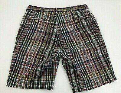 Madras Flat Front Short (Polo Ralph Lauren Flat Front Shorts Madras Plaid Blue Red Green Yellow Mens 35)