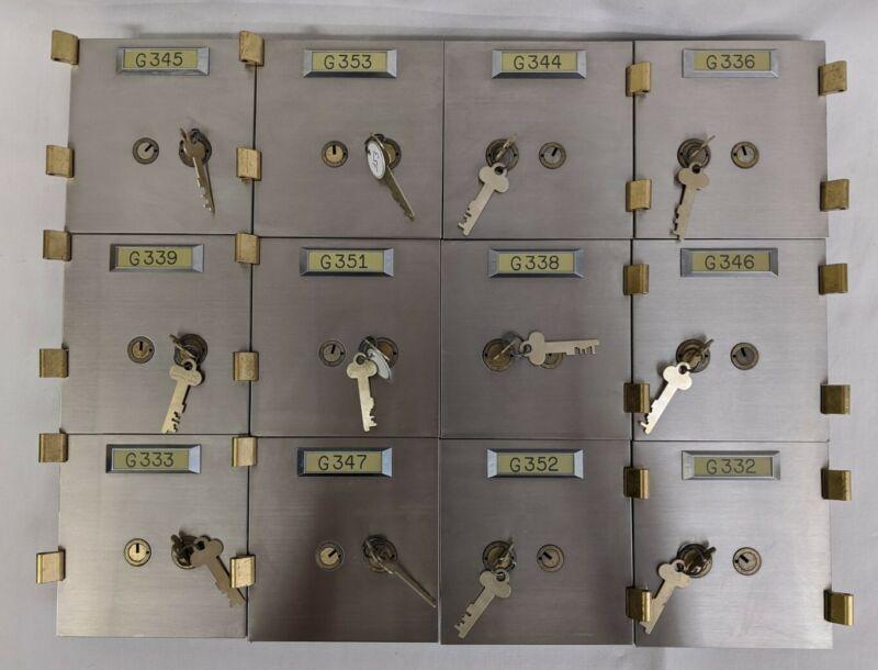 "Lot of 12 Diebold Safe Deposit Box Doors w/ Lock Renter Key 5"" x 5"" Bank Vintage"