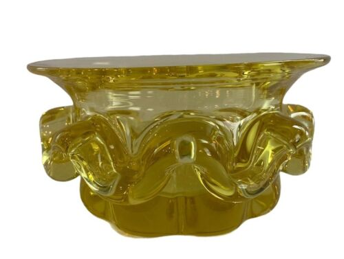 Vintage Yellow Thick Glass Wavy Ribbon Candy Bowl NICE