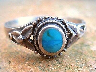 anmutiger ethno ring im indianerstil silber türkis 18,5 mm vintage 4