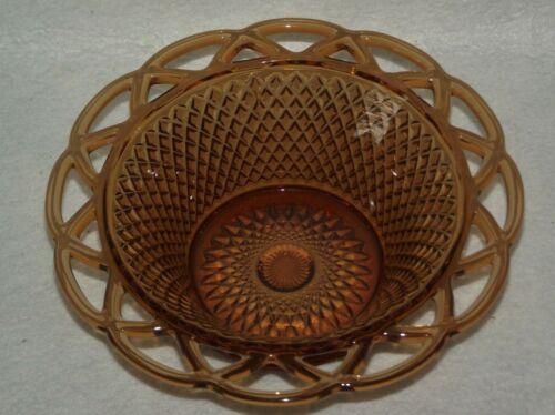 "Vintage 7.75"" diamond point open lattice lace scalloped rim amber glass bowl"
