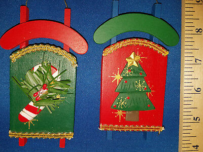 Sled Ornament Set of 2 Wood Sled with Candy Cane and Tree 1111 237