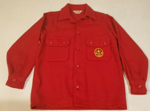 Vintage Official Boy Scouts Of America Red Wool Jacket Shirt Size 14 BSA