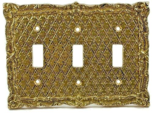 SOLID BRASS VINTAGE / VICTORIAN Triple toggle switch wall plate ITEM # 0100/4