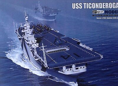 USS Aircraft Carrier Ticonderoga Cut Out Paper Model Scale 1:200 + Laser Frames