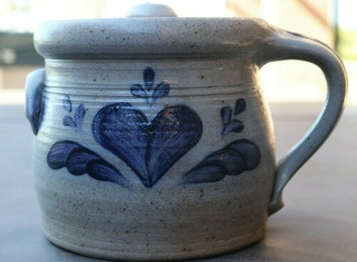 "Vintage Rowe Pottery Heart Motif Salt Glazed Crock & lid 6"" Gray Blue 1988"