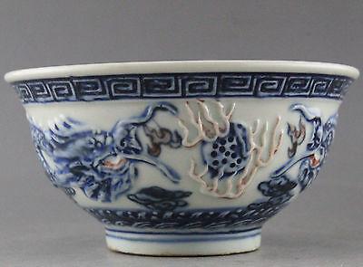 White Porcelain Bowl - EXQUISITE CHINA HANDWORK BLUE AND WHITE PORCELAIN DRAGON BOWL