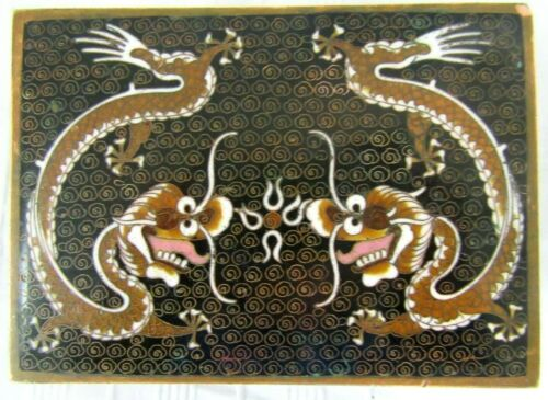 Antique Chinese Qing Dynasty Cloisonne Imperial Dragon Scholars Box 1890 Enamel