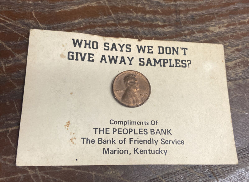 Free Sample 1970 Penny, Peoples Bank  Marion Ky, Card