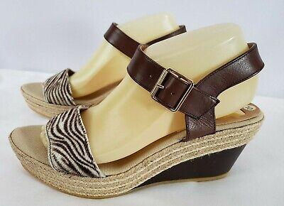 KANNA Brown Zebra Stripe Toe Brown Leather Straps Espadrille Wedge Sandal 9 / 40 Brown Zebra Stripe