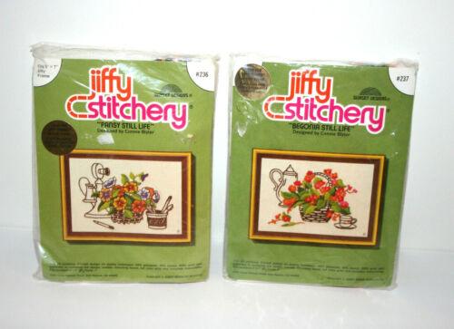 """NEW VTG 1978  Lot 2 Jiffy Stitchery Kits """"Pansy & Begonia Still Life"""" #236 #237"""