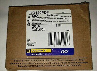 Square D Qo120pdf 1 Pole 20 A Arc-d-tect Combo Arc-fault Ground New 74117