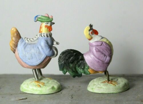 Pair of (2) Antique c. 1900 Humanized German Bisque Rooster Nodders