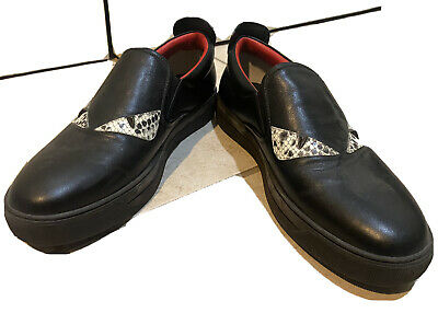 Rare Fendi Mens Black Leather X Studded Slip On Sneakers Shoes US 8 EU 41 Ds Rom