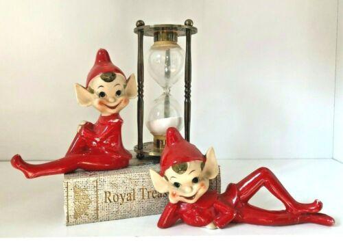 Vintage Ceramic Elf/Pixie Elves/Vintage Ceramic Pixies/Red Chrismtas Elves/Japan