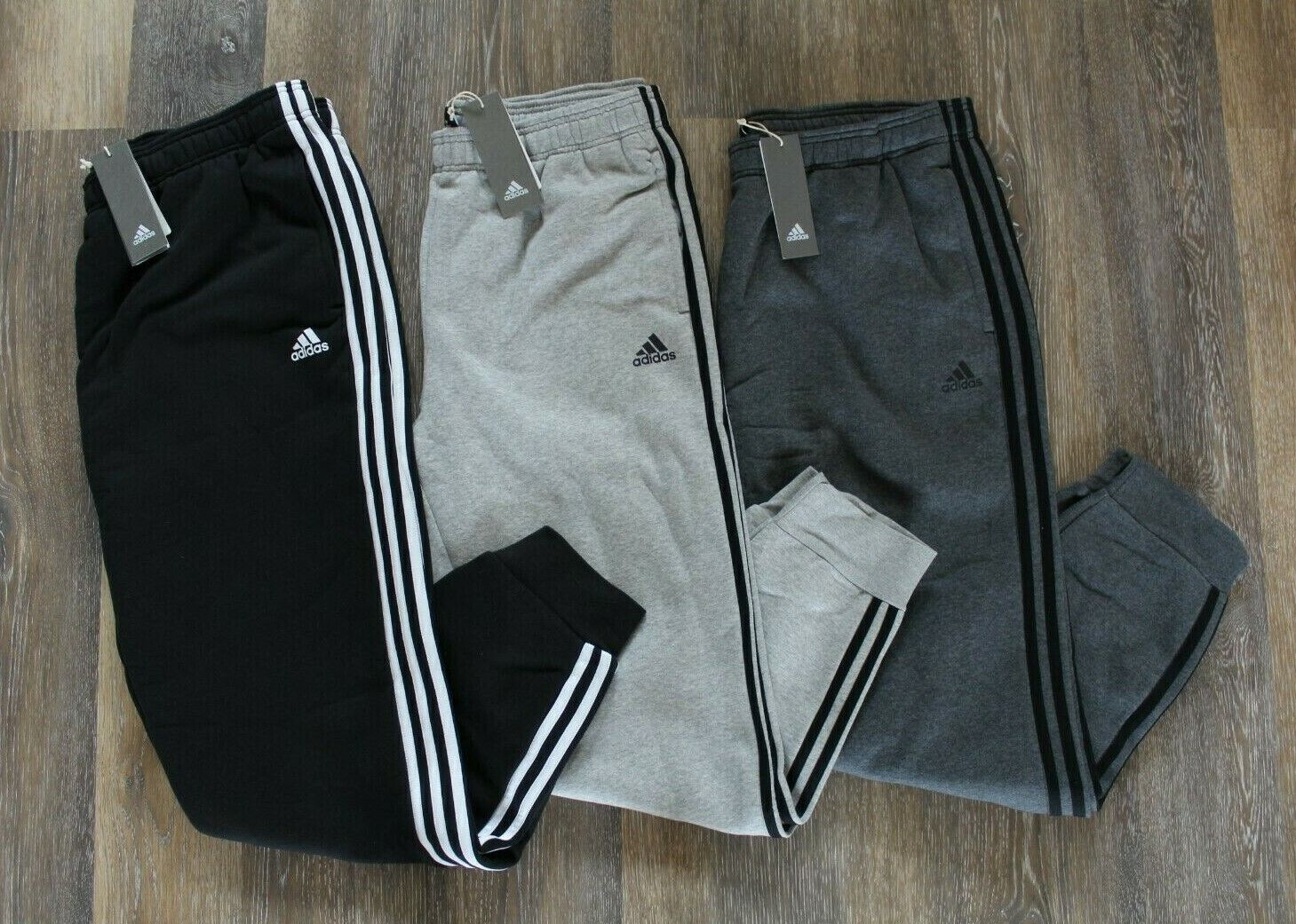 NWT ADIDAS Men's 3 Stripe Fleece Jogger Sweatpants BLACK GRA