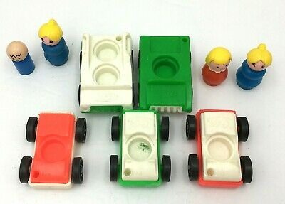 1970s Fisher Price Little People Play Family Airport Garage Cars & Figures Vtg