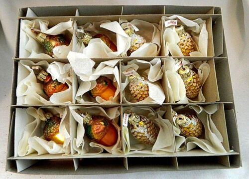 Box of 12 Light Pine Cones & Acorns  Blown Glass Christmas Tree Ornaments Poland