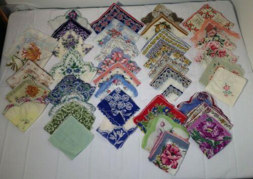 37 Vintage Bright Floral Print Hankie Lot Swiss Handkerchief Franshaw Mix