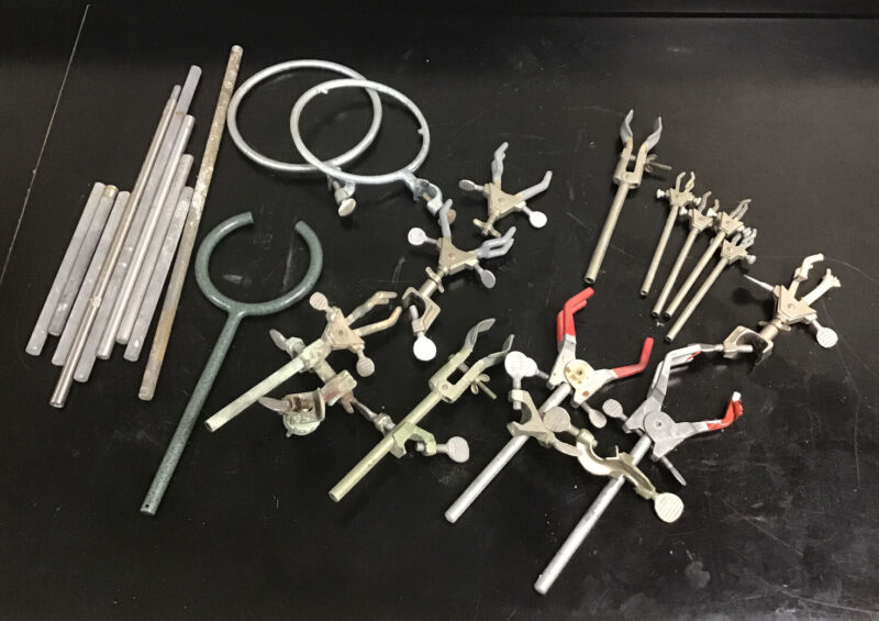 Lot of Various Laboratory Clamp, Rings & Brackets