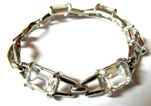 Swan Signed Swarovski Crystal Large Emerald Cut Clear Crystal Bracelet
