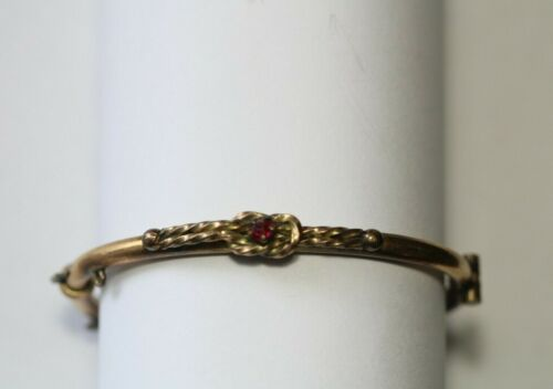 Antique Victorian Gold Filled Red Stone Love Knot Child