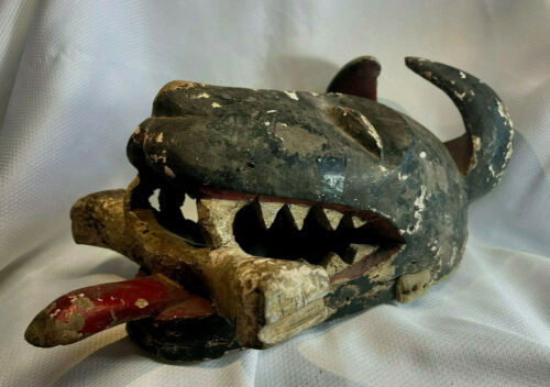 Vtg African Carved Wood Tribal Wall Hanging Mask Dog Tongue Out Treat In Mouth