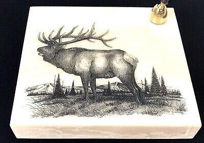 Montana Marble Etched Carved Elk Caribou Desk Pen Holder