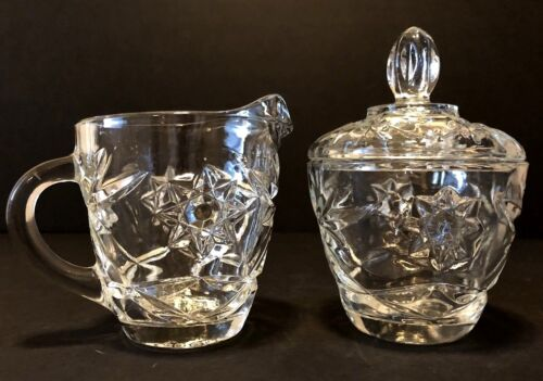Vintage Prescut Star of David Clear Glass Sugar Bowl and Creamer Set