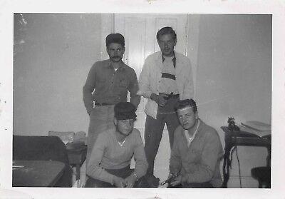 VTG SNAPSHOT PHOTO HANDSOME MEN GUN SMOKING PIPE MUTTONCHOPS MUSTACHE GAY INT - Gunslinger Mustache