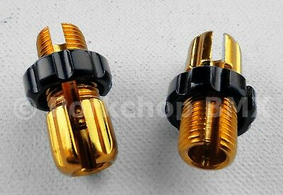 Dia-Compe M10 threaded bicycle brake lever barrel adjusters - PAIR - GOLD