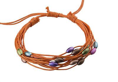 Bracelet multi fils orange perles pastel tous poignets-Line bresilien Wrap 935 (Tous Armband Perle)