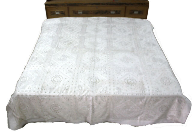 INDIAN COTTON EMBROIDERED CAL KING SIZE BED SHEET WALL HANGING COVER SPREAD