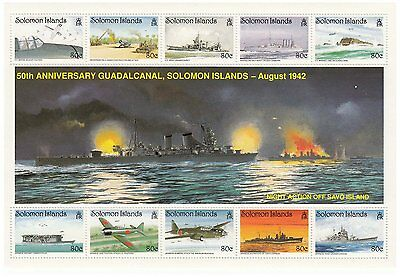 50TH ANNIVERSARY BATTLE OF GUADALCANAL SOLOMON ISLANDS 1992 MNH STAMP SHEETLET
