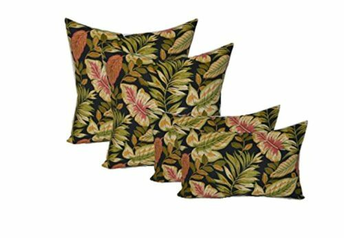 Set of 4 Decorative Throw Pillows - Black Green Burgundy - 2