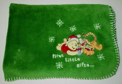 Disney Baby Winnie the Pooh Tigger Christmas First Little Gifts Green Blanket